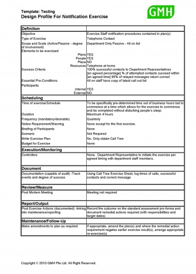 Design profile for notification test sample bcmpedia for Disaster recovery testing template
