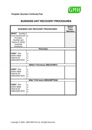disaster recovery procedures template - business unit recovery procedures bcmpedia a wiki