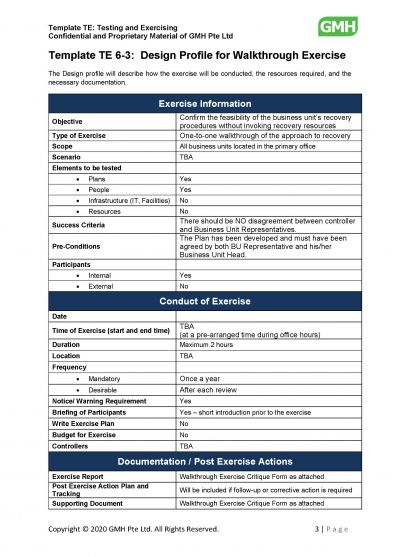 design profile for walkthrough test  sample